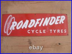 Old Vintage Antique Enamel Shop Sign Cycles Bicycles Tires Tyres Roadfinder 2