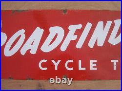 Old Vintage Antique Enamel Shop Sign Cycles Bicycles Tires Tyres Roadfinder 3