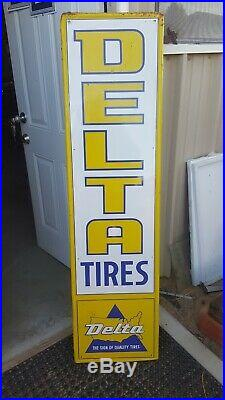 Old Vintage Delta Tires Sign Embossed 60 Gas Oil Goodyear Firestone