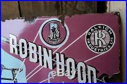 Old Vintage Robinhood Raleigh Bicycle Porcelain Enamel Sign Board Nottingham