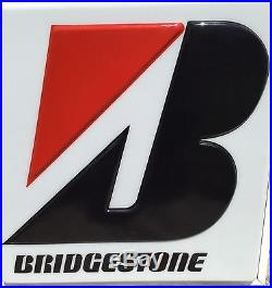 Old Vtg Bridgestone Tire Double Sided Garage Lighted Sign Dualite Electric Hang