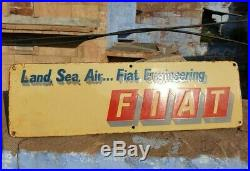 Original 1920 Old Vintage Very Rare Fiat Porcelain Enamel Sign Board Collectible