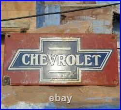 Original 1930's Old Antique Vintage Rare Chevrolet Porcelain Enamel Sign Board