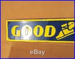 Original 1930's Old Vintage Rare Goodyear Tyre Ad. Porcelain Enamel Sign Board