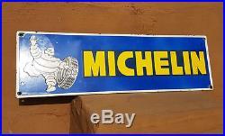 Original 1930's Old Vintage Rare Michelin Tyre Ad. Porcelain Enamel Sign Board