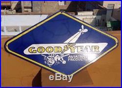 Original 1940's Old Vintage Rare Goodyear Tyre Ad. Porcelain Enamel Sign Board