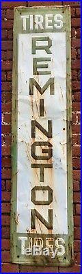 Original Authentic Vintage REMINGTON Tires Metal Sign 5 FT tall, 14 wide