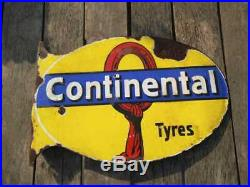 Original CONTINENTAL TYRES Vintage Tire Garage Porcelain Enamel Sign 1920s RARE