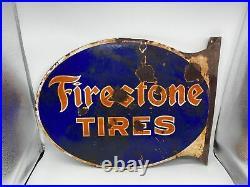 Original Firestone Tires Auto Supplies Flange Sign Vintage Gas Oil
