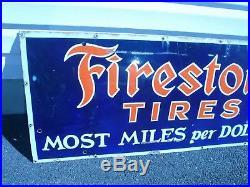 Original Firestone Tires Porcelain Gas Oil Sign Vintage