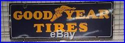 Original Porcelain Vintage 5 ft x 2 ft Goodyear Tires sign