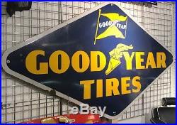Original Porcelain Vintage 8 ft x 4 1/2 ft Goodyear Tires sign