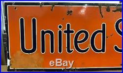 Original Vintage 1930's Porcelain United States Tires Sign for Gas Oil Station