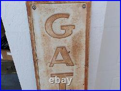 Original Vintage 1940s 1950s Embossed Gates Tires Sign 14 x 54