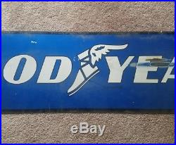 Original Vintage 1960's Goodyear Tires Gas Station Oil 2 Sided 48 Metal Sign