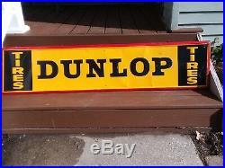 Original Vintage Dunlop Tires Tin Embossed Metal Garage Sign 60 x 14 1960