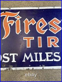 Original Vintage Firestone Tire Porcelain Sign