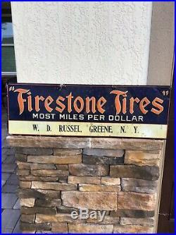 Original Vintage Firestone Tires Most Miles Per Dollar Tin Tacker