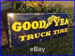 Original Vintage Good Year Truck Tires Porcelain 1940's Sign 34 x 80