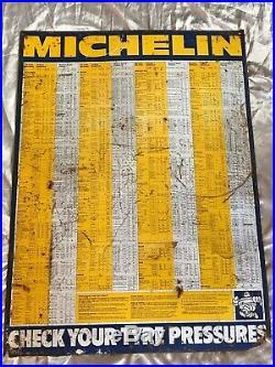 Original Vintage Michelin Enamel Sign Classic Car Garage Tyre Pressure Chart