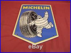 Original Vintage Michelin Man Tire Porcelain Sign dated 1964