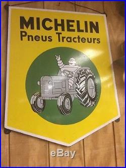 Original Vintage Michelin Tractor Tire Porcelain Sign