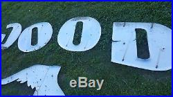 Original vintage porcelain Goodyear sign letters and winged foot logo