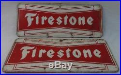Pair of Vintage Metal Firestone Tire Signs Nice