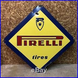 Pirelli Tire Sign Porcelain Vintage Original Gas Oil Garage Car Truck Italy 1960