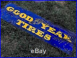 Porcelain Goodyear Tires Garage 6' Metal Gas Station Sign Blue Vintage Antique