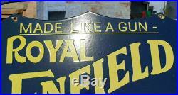 RARE 1920's Old Vintage Royal Enfield Motorcycle Ad. Porcelain Enamel Sign Board