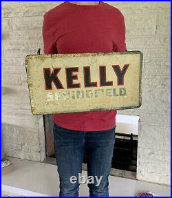 RARE Early Vintage Original KELLY SPRINGFIELD Tire Metal Display Stand Sign