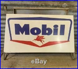 RARE Orig Vtg 50s 60s MOBIL TIRES Tire Stand Rack Display Gas & Oil Station Sign