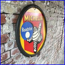 RARE VINTAGE 1930s 40s MICHELIN ROADSTER BICYCLE TYRE SIGN HARDBOARD 26 CYCLE