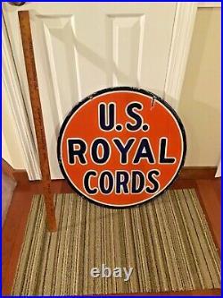 RARE VINTAGE 1940s U. S. ROYAL CORDS TIRES PORCELAIN SIGN DOUBLE SIDED-24 DIA