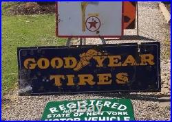 RARE VINTAGE ORIGINAL GOODYEAR TIRES PORCELAIN SIGN 64 across not Fisk Goodrich