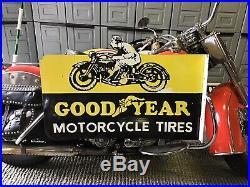 RARE VINTAGE PORCELAIN 36 2 SIDED GOODYEAR MOTORCYCLE TIRES FLANGE SIGN Harley