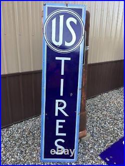 RARE VinTagE EARLY Original US TIRES VerTiCaL Porcelain Sign AnTiQue Gas Oil
