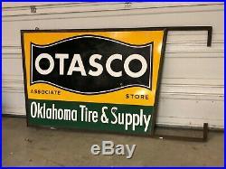 RARE VinTagE OTASCO Oklahoma Tire & Supply Co HANGER Gas Oil DSP PORCELAIN SIGN