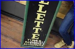RARE Vintage 1940s Gillette Tire Embossed Metal Advertising Sign ORIGINAL Nice