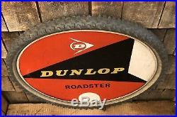 RARE Vintage DUNLOP ROADSTER Service Station Dealer Bike Tire Sign Display 25