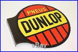 RARE Vintage DUNLOP Tires 2-Sided Enamel Sign Stock Jaguar MG Triumph MGB Pneus
