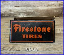 RARE Vintage Firestone TIRES Cardboard DS Tire Stand Display Sign Gas & Oil