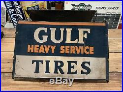 RARE Vintage Original 1940s Gulf Heavy Service Tire Rack Sign KILLER
