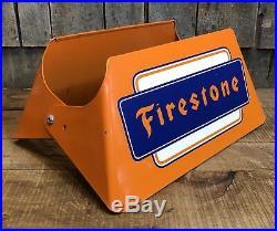 RARE Vintage Original FIRESTONE Tires Gas Station Dealer Tire Display Stand Sign