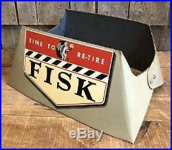 RARE Vintage Original FISK Time To Re Tire Gas Station Dealer Stand Sign Display