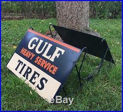RARE Vintage Original GULF Heavy Service Truck TIRES Display Rack Holder Sign