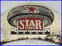 RARE Vintage STAR TIRES License Plate Topper Gas Oil Sign Car Truck Advertising