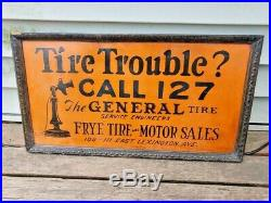 RARE Vintage THE GENRAL Tire FRYE TIRE AND MOTOR SALES Sign