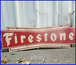 RARE XL VINTAGE 2 SIDED FIRESTONE TIRES BOWTIE SERVICE METAL SIGN 48x14
